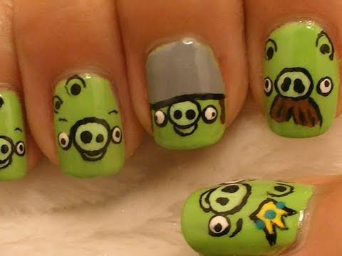 *Pigs* Angry Birds Nail Art / *Cochinitos* Diseño de Pájaros enojados