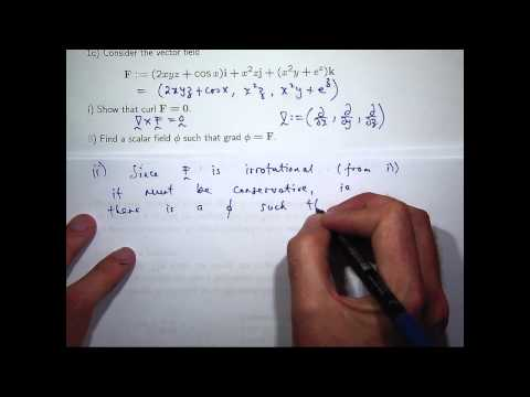 Curl, grad and line integral examples