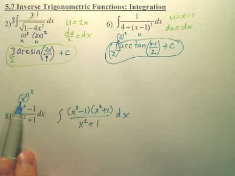 5.7b Inverse Trigonometric Integration - Calculus