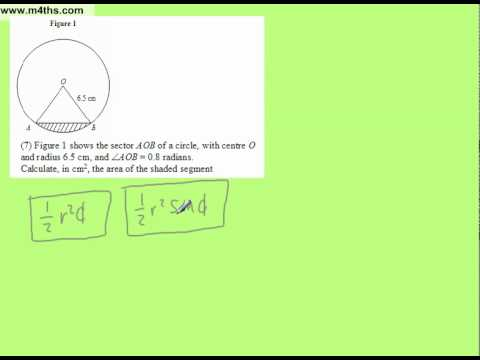 Area of a segment from a circle Trig core 2 Exam Question