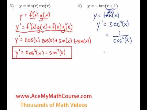 Derivatives of Trigonometric Functions - Questions #3-4