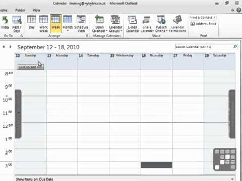 Outlook 2010 Tutorial - Explore the Outlook Calendar