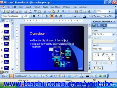 PowerPoint 2003 Tutorial Adding Custom Animation Microsoft Training Lesson 18.4