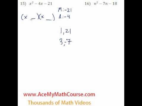 Polynomials - Factoring Trinomials #15-16