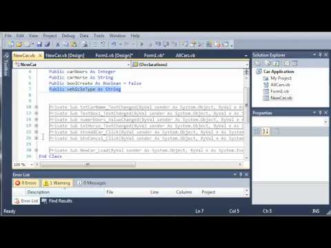 Visual Basic Tutorial - 122 - Car Part 17   Creating And Accessing Different Car Types