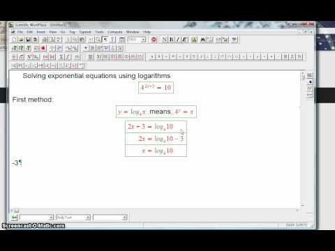 solving an exponential equation with logarithms