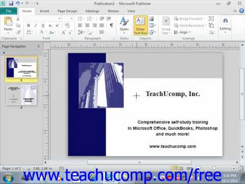 Publisher 2010 Tutorial Inserting Text Boxes Microsoft Training Lesson 3.1