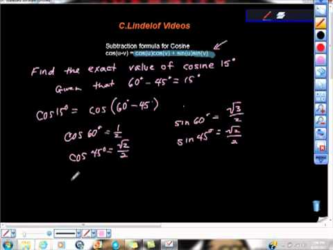 Subtraction Formula For Cosine Analytic Trigonometry Geometry