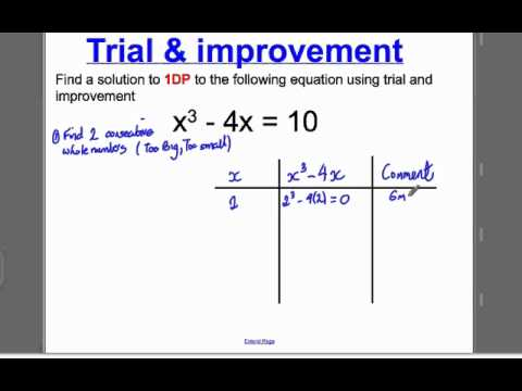 Trial and Improvement 1 (GCSE Higher Maths): Tutorial 1
