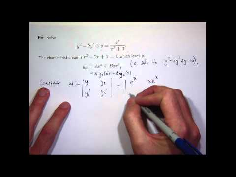 Variation of parameters to solve differential equations