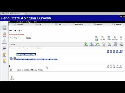 Penn State Abington Surveys - Video 2 Creating Surveys