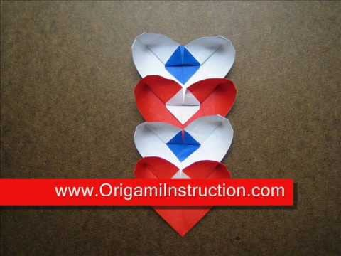 How to Fold Origami Heart Chain - OrigamiInstruction.com