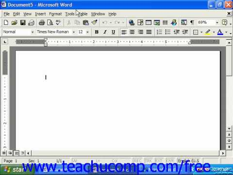 Word 2003 Tutorial The Word Environment 2000 Microsoft Training Lesson 1.2