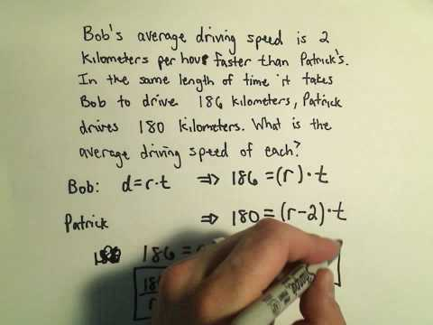 Solving Word Problems in Distance, Rate, and Time Using Quadratics - Example 1
