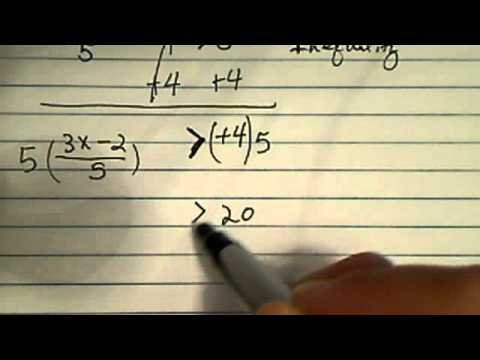 solve inequality ((3x-2)/5)-4 larger than 0