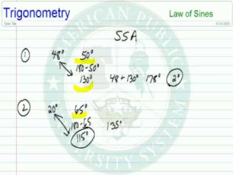 Law of Sines: SSA, 2 triangles Possible Y or N