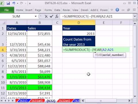 Excel Magic Trick 632: Count Dates Within Given Year From A  List Of Dates With Different Years
