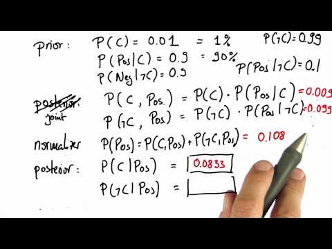 Normalizing 4 - Intro to Statistics - Bayes Rule - Udacity