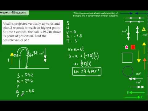 (12) M1 Mechanics Revision Topics - Vertical Kinematics question including quadratic equation