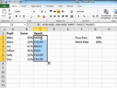 Learning Excel 2010 - Using Nested IF Statements - Tutorial