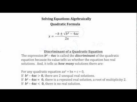 Solving Equations Algebraically