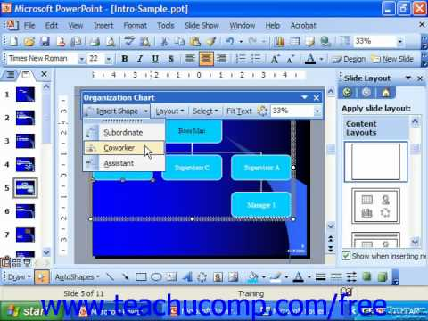 PowerPoint 2003 Tutorial Using the Diagram Toolbar Microsoft Training Lesson 10.2