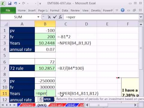 Excel Magic Trick 693: HOW Long To Double Your Money: NPER function or Rule of 72.
