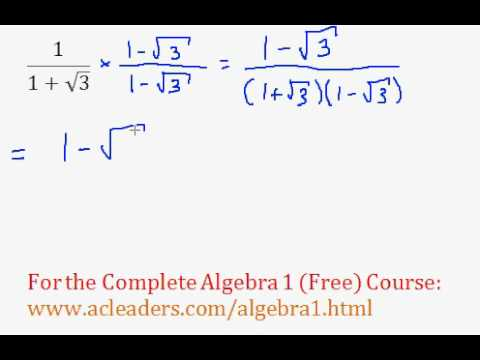(Algebra 1) Radicals - Dividing Radicals & Rationalizing #9