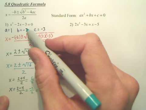 5.8a The Quadratic Formula - Algebra 2