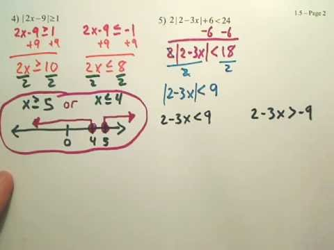 1.5b Absolute Value Inequalities - Algebra 2