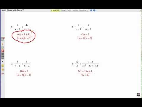 How to Add or Subtract Rational Expressions: Self Quiz