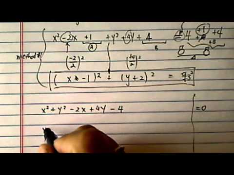 Equation of circle: from general form to standard form ( x² + y² - 2x + 4y - 4 = 0)