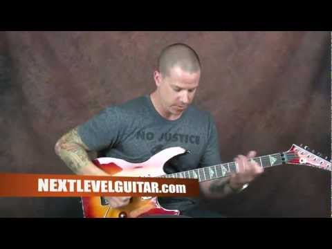 Learn shred rock lead guitar mix sweep arpeggios with Pentatonic scales lesson with tablature