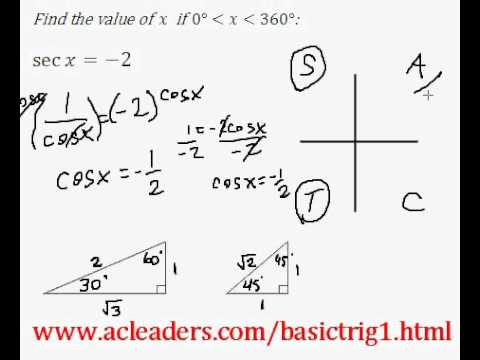 Basic Trig - Simple trig equation (solving for 'x') - EASY Solution!!!!! (Pt.8)