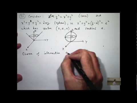 Intersection of sphere and cone example