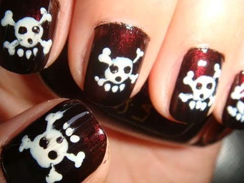 Skull Nails Simple Tutorial For Short Nails