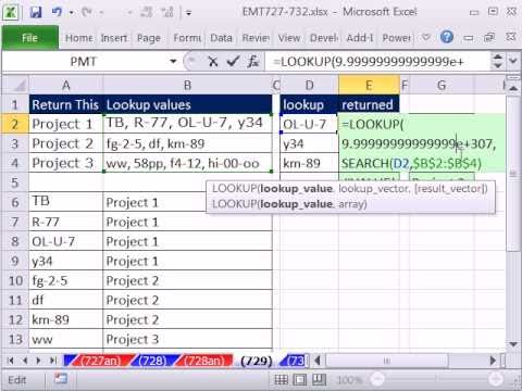 Excel Magic Trick 729: VLOOKUP When Multiple Lookup Items In Cell, LOOKUP & SEARCH functions