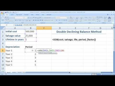Finance in Excel 6 - Calculate Double Declining Balance Method of Depreciation in Excel
