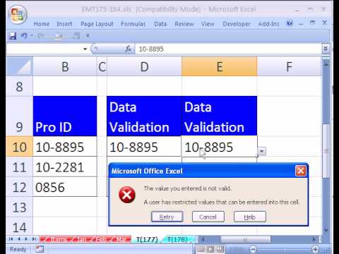 Excel Magic Trick #177: Data Validation Trouble