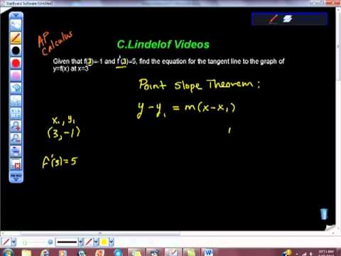 AP Calculus AB Find the Equation of the Line Tangent Given Slope and Point