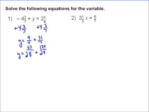 Solving Basic Equations With Fractions