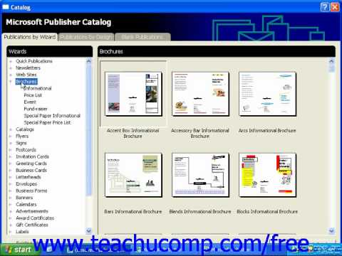 Publisher 2003 Tutorial Viewing the Catalog Microsoft Training Lesson 1.4