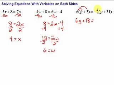 Lesson 7-5: Solving Equations With Variables on Both Sides