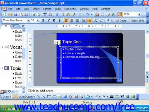 PowerPoint 2003 Tutorial Using the Guides for Layout Microsoft Training Lesson 5.2
