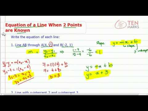 Equation of a Line when Two Points are Known
