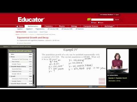 Algebra 2: Exponential Growth and Decay (Population)
