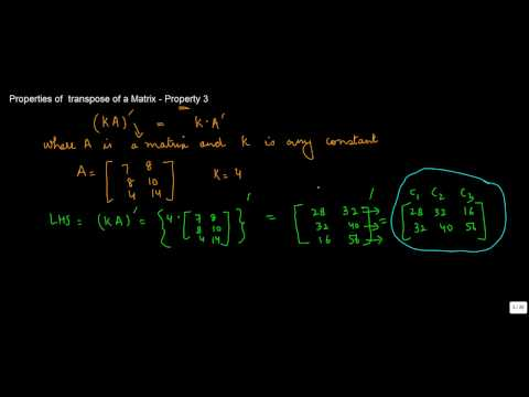 880. Class XII - CBSE, ICSE, NCERT Maths - Properties of  transpose of a Matrix - Property 3