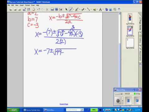 How to Use the Quadratic Equation Tutorial