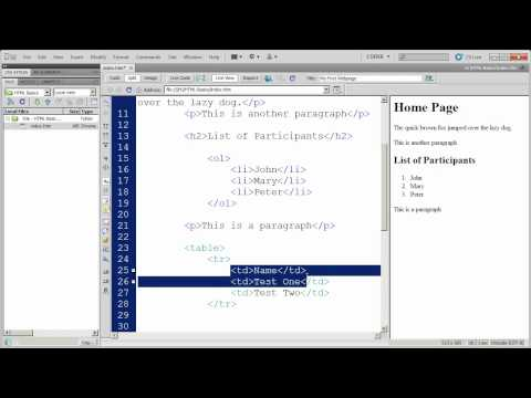 Fundamentals of HTML in Dreamweaver CS5 - Part 4