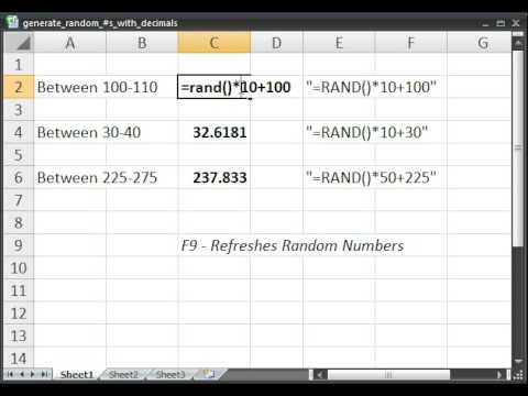 Generate Random Numbers with Decimals in Microsoft Excel
